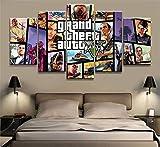 Refosian Impresiones Lienzo 5 Piezas GTA 5 imágenes de póster del Juego Impresiones de Lienzo en HD Arte de la Sala de Estar Decoración del hogar Pintura (Size_C) Sin Marco