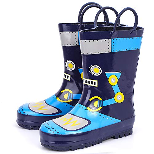 RANLY & SMILY Boys Rain Boots Toddler/Littlle Kids Waterproof Rubber Boot with Easy Pull On Handles Navy/Robot 6 M US Toddler