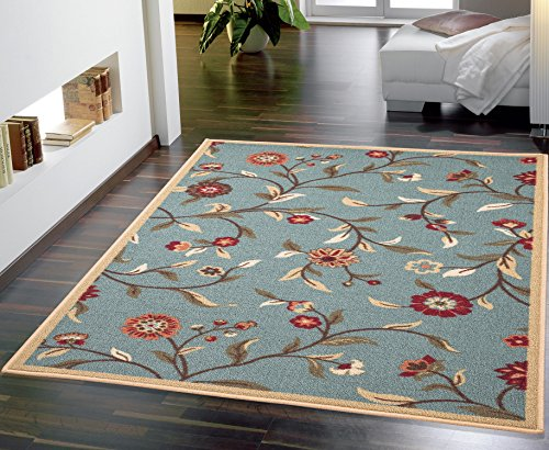Ottomanson Ottohome Collection Floral Garden Design Modern Area Rug with Non-Skid (Non-Slip) Rubber Backing, 3'3' W X 5' L, Sage Green
