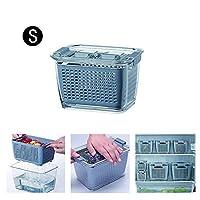 野菜フルーツ収納容器、キッチンプラスチック収納ボックスフレッシュキーピングボックス冷蔵庫フルーツふた付き野菜ドレンクリスパーキッチン収納容器 (S)