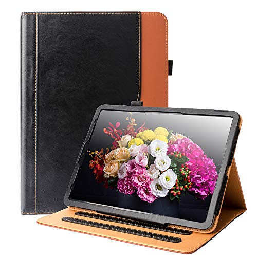 iPad Pro 11 Case 2018 HLHGR Premium Leather Smart Case Multiple Viewing Angles Stand Folio Cover with Auto Wake/Sleep Pencil Holder and Card Pocket for iPad Pro 11' 2018 Release,Black/Brown