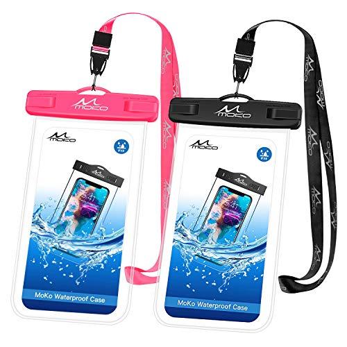 MoKo Phone Custodia [2 Pz], Borsa Impermeabile con Tracolla per iPhone 12 iPhone 12 Mini iPhone 12 PRO iPhone 11 11 PRO Max XS Max XR, Galaxy S21 Note 10 Plus S10 Plus, Nero + Magenta