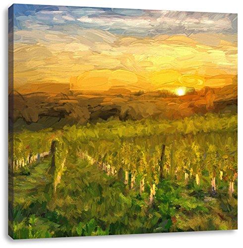 Wijngaard in Bergerac FrankrijkCanvas Foto Plein   Maat: 60x60 cm   Wanddecoraties   Kunstdruk   Volledig gemonteerd