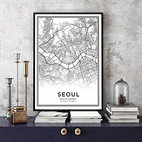South Minimalsit Corea Seúl mapa de la ciudad nórdico en blanco y negro imágenes artísticas de pared carteles e impresiones para la decoración del hogar de la sala de estar 50x70 CM (sin marco)