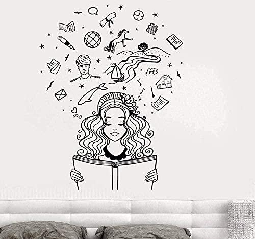 Muro della parete della parete della parete Ragazza della ragazza che legge un libro immaginazione Fantasy Fairy Tale Adesivo murale romantico per la camera da letto Soggiorno Casa L940 57 * 73 cm
