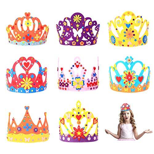 ZERHOK 8Stk Prinzessin Kronen Kinderkronen zum Basteln Kinder Tiara Partyhüte Prinzessin Crown Stirnband Mädchen Filzkrone für DIY Geburtstag Geschenk Mitgebsel Karneval Kostüm Foto Requisite