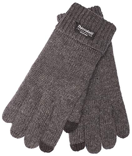 EEM Herren Strick Handschuhe LASSE-IP mit Touch-Funktion und Thinsulate Thermofutter aus Polyester, Strickmaterial aus 100% Wolle, smartphone; anthrazit, L