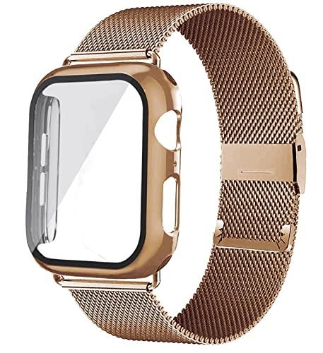 CGGA For Apple Watch Sports Metal Milanese Loop Pulsera Correa Serie 7 / SE / 6/5/4/3 / 2/1 Correa de Banda de Metal 40mm 42mm de 44mm. (Color : Rose Gold, Size : 40mm)