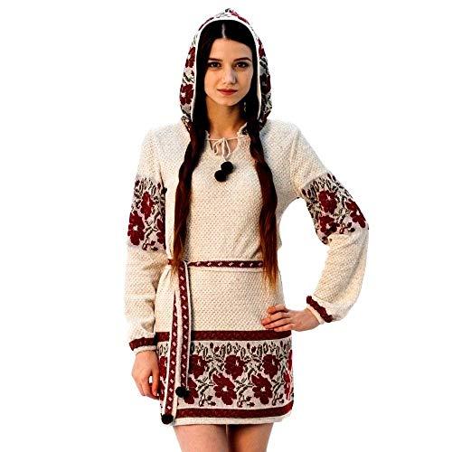Größe L, Handgemachte gestrickte Vyshyvanka ethnischen böhmischen Kleid Tunika Boho Frau Stil Leinen 100%