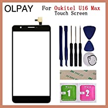 """JannahMehr-Mobile Phone Touch Panel - Mobile Phone Touch Panel Front Glass For Oukitel U16 Max 6.0"""" inch Touch Screen Digitizer Panel Glass Sensor Repair Parts (Black With Tools)"""