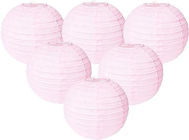 Easy Joy Lanterne Papier Rose Pale 30cm 12pcs Decoration Lampion Chinois Abat-Jour en Papier Boule pour Mariage Maison Annive