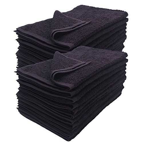 Cotton Salon Towels - Gym Towel - Hand Towel - (12-Pack, Black) - 16 inches x 27 inches -...
