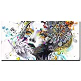 N / A Posters and Prints of Girl Face Printed On Canvas with Flower Oil Painting For Home Decoration Pictures Frameless 50x100cm