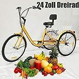 DIFU Triciclo para adultos 24 pulgadas 6 velocidades Tricycle 3 bicicleta mujer bicicleta Citybike con cesta, para personas mayores City Outdoor Sports Shopping