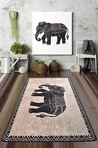 Alfombra de salón o cocina, diseño étnico, estampado de elefantes, de gel, antideslizante, lavable (beige, 80 x 200 cm)