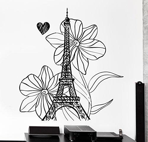Wallstickers4you Wand Aufkleber Paris Frankreich Urlaub Flower Heart Romantik Vinyl Aufkleber (Z3113)