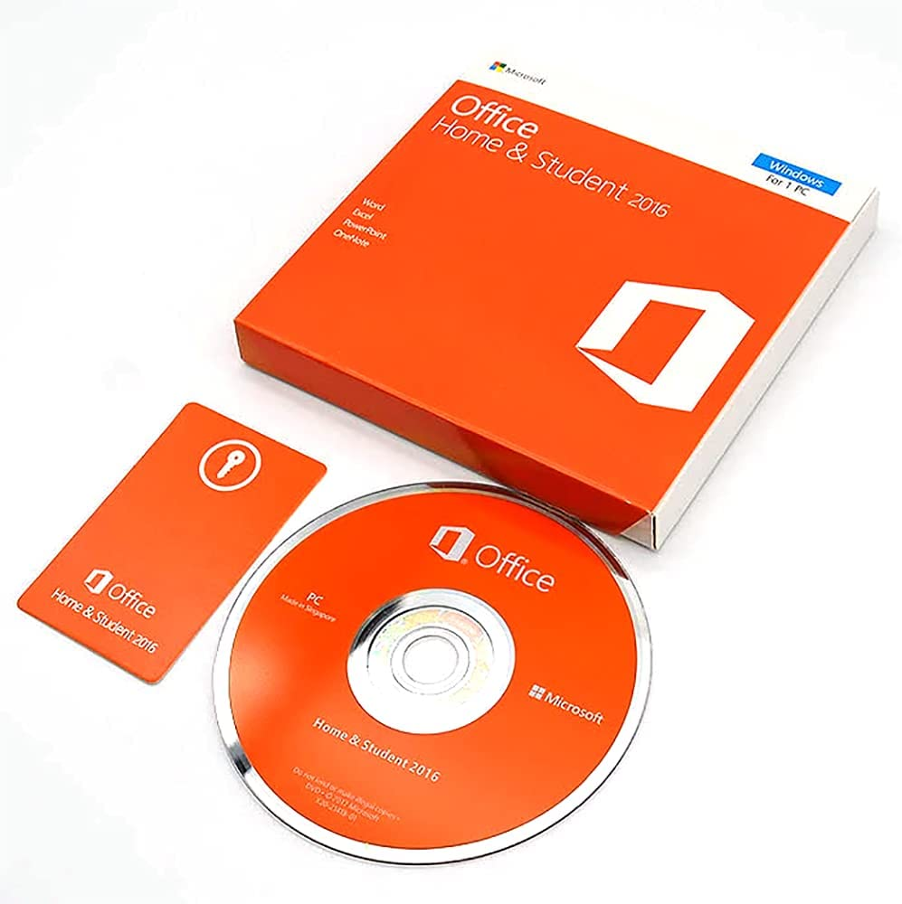 Office Home and Student 2016 DVD | New | Box | DVD | KeyCard- Office 2016 Home & Student | Full Retail Pack With DVD Driver | For 1 PC | Lifetime License