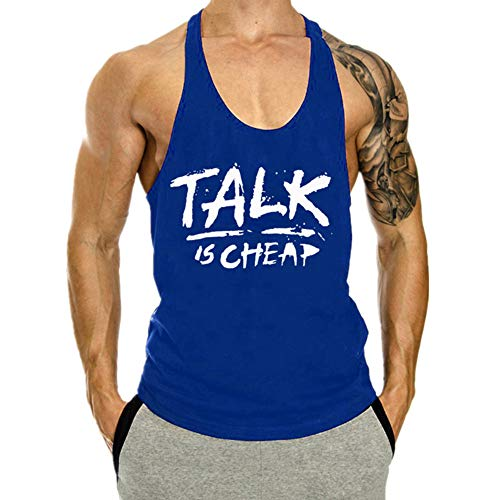 Fansu Camiseta de Tirantes para Hombres, Cómodo Transpirables Fitness Gym Muscular Absorbente Chaleco Bodybuilding Tank Top Sport Vest Culturismo (M,Azul)