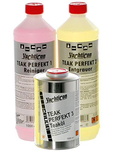 YACHTICON Teak Perfekt Reiniger Set 3X 1 Liter