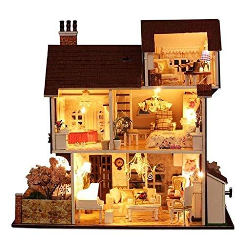 XZJJZ Puppenhaus Puppenhaus Kit Architektur ohne Staubschutz, Mini Holzhaus Handgemachte Dekorationen und Möbel DIY Haus Bastelset