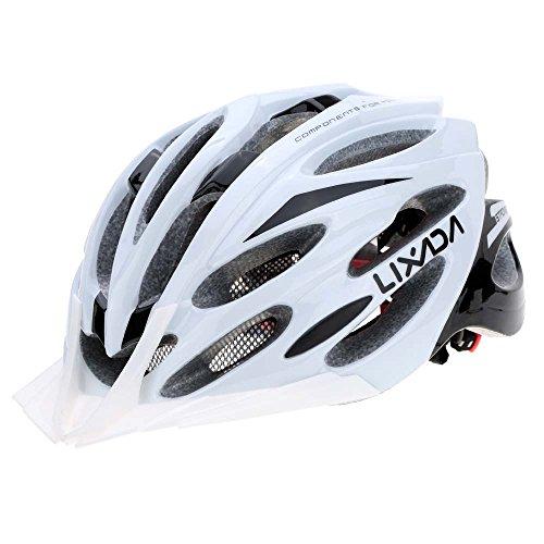 Lixada Casco da Bici Ciclismo Unisex 24 Vents Ultraleggero Integralmente Modellata EPS Sportivo con Fodera Tampone (Bianco Nero)