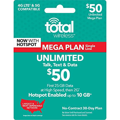 Total Wireless $50 30-Day 1-Line Unlimited Mega Plan Prepaid Phone Card