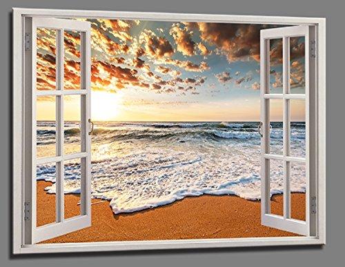 bestpricepictures 120 x 80 cm Bild auf Leinwand Fenster Blick Strand Sonne 5006-SCT deutsche Marke und Lager - Die Bilder/das Wandbild/der Kunstdruck ist fertig gerahmt.