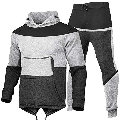 theshyer Suéter deportivo de invierno para hombre, costura de moda, chaqueta deportiva informal con capucha, traje