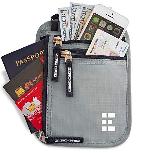 Portadocumentos de Viaje con Protección RFID - Cartera para Colgar y Porta Pasaporte (Ash)