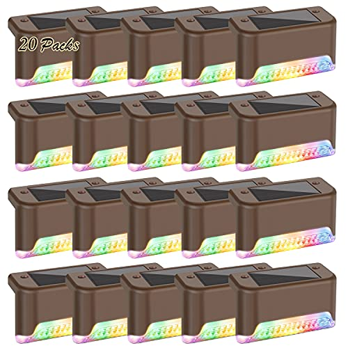 20-Pack Solar Deck Lights Color Changing, RGB LED Outdoor Step Light Waterproof, Colored Solar Powered Fence Lighting Bronze Finished for Decks Stairs Patio Path Yard Garden Decor, Multicolor