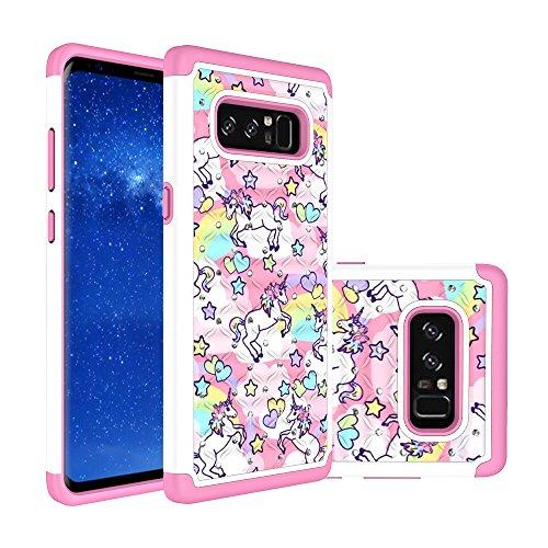 Samsung Galaxy Note 8 Case, Rainbow Unicorn Pattern Heavy Duty Shockproof Studded Rhinestone Crystal Bling Hybrid Case Silicone Protective Armor for Samsung Galaxy Note 8 2017