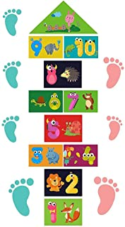 3 Number DIY Hopscotch Game Wall Stickers Floor Decals, Colorful Rainbow Puzzle Hopscotch Decals, Removable PVC Cute Anima...