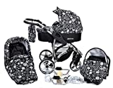 ALLIVIO, 3-in-1 Travel System with Baby Pram, Car Seat, Pushchair & Accessories (3in1 Travel System -Baby tub, Sport seat, Car seat, Black & Flowers)