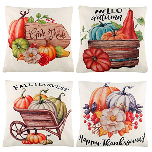 SAVITA 4Pcs 18 x 18 Inches Thanksgiving Pillow Covers, Flax Pumpkin Autumn Harvest Pillow Case Pillow Cushion Cover for Home Car Sofa Bed Couch Decoration