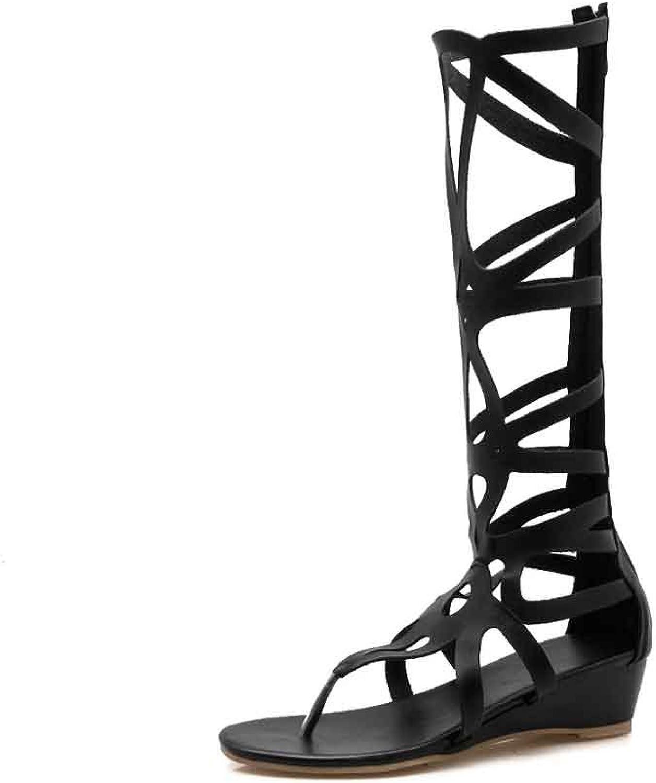 LIURUIJIA Women Leatherette Open Toe Knee High Rope Gladiator Sandal 5LX-GT-9910