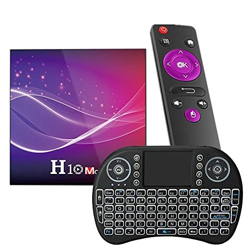 GEQWE [2021 Más Nuevo] Android TV Box 10.0, H10 MAX Android Box Allwinner H616 Quad-Core 64Bit con Dual-WiFi 2.4G / 5Ghz BT 4.2, con Mini Teclado Inalámbrico Ultra HD 6K HDR TV Box,4gb+64gb
