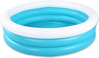 HIWENA Inflatable Kiddie Pool, 5ft Durable Kids Pool, Blue & White Baby Pool