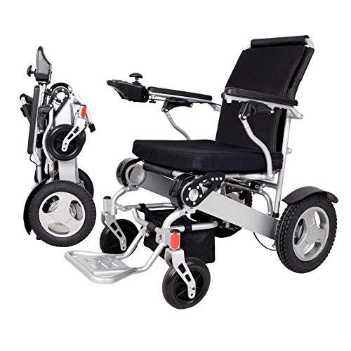 Rolstoelen draagbare elektrische dubbele lithium-batterij rolstoel met 180 kg, opvouwbaar, geschikt voor oudere en gehandicapte mensen. zilver