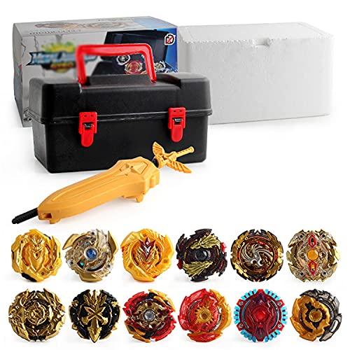 Xbtianxia Peonzas Juguetes Conjunto, 12 Turbo Burst Gyro Spinners y 2 Lanzador Set, con Caja Portátil, Cumpleaños, Navidad Regalo, Juguetes para Niño