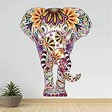 Rureng Motif Fleur Éléphant Animal Autocollant Mural Amovible Pvc Rétro Stickers Ethnique Unique Style Papier Peint Pour Salon Décor À La Maison