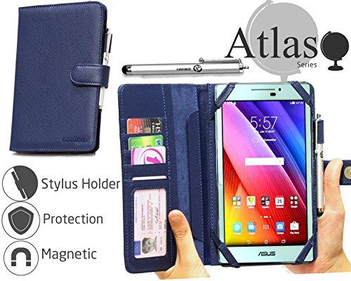 Navitech Blau 7 Zoll bycast Leder Folio Case/Cover/Hülle mit Stylus für das ASUS ZenPad 7.0 Z370C / Z170MG / Z370CG / Z170C / Z170CG D