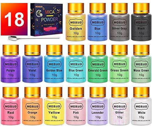 MOSUO Epoxidharz Farbe Mica Pulver, 10g*18 Farben Seifenfarbe Set Pigmente Pulver, Metallic Farben Schimmern Sie Glitter Powder, Farbpulver für Seifen Malerei DIY Resin