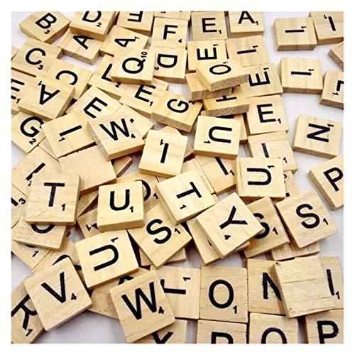 ZHJKK 100 unids Alfabeto de Madera Scrabble Azulejos Números Números Números Artesanía Madera Digital Rompecabezas (Color : Yellow)