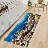 OPLJ 3D Underwater World Küchenmatte Eingang Fußmatte Schlafzimmer Bodendekoration Wohnzimmer...
