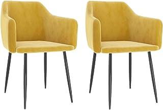 vidaXL 2X Sillas de Comedor Asiento Mobiliario Mueble de Salón Sala de Estar Cocina Escritorio Hogar Suave Cómodo Respaldo Terciopelo Amarillo Mostaza