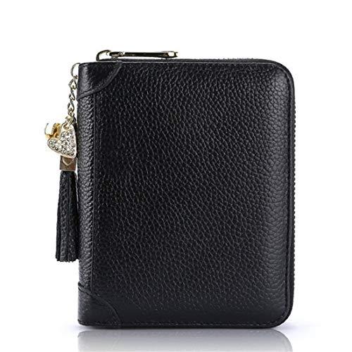 LR xiaorunfa portemonnee van leer voor creditcards, portemonnee, dames, Blanco Y Gris (Zwart) - 6901654135213