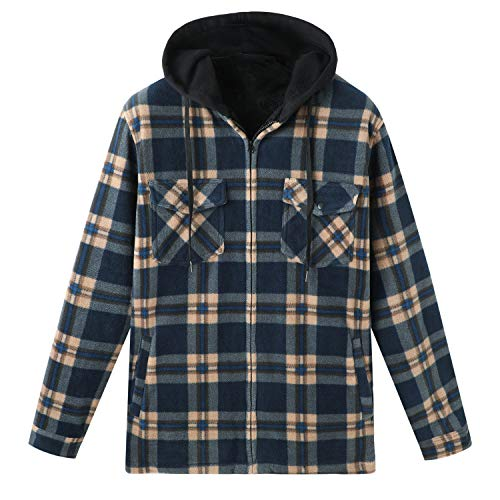 Hooded Flannel Jackets Mens Sherpa Lined