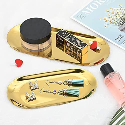 2 set di vassoi color oro, ovali in acciaio inox, decorativi da scrivania per cosmetici, gioielli, tovaglioli, piatti per frutta e bagno (grande e medio)