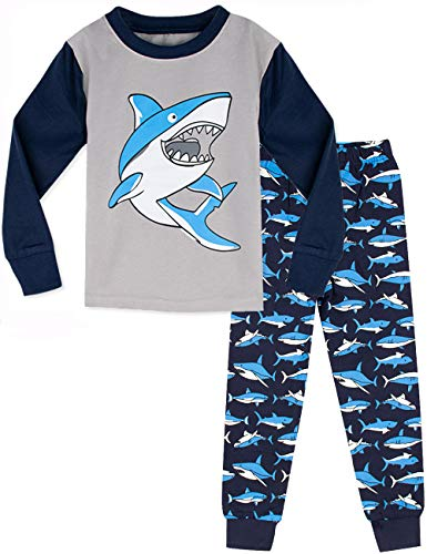 MOMBEBE COSLAND Jungen Hai Zweiteiliger Schlafanzug (4 Jahre, Blau)