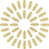 PandaHall 50 juegos de 12 x 4 mm de latón con cierre de tornillo, cierre de extremo de joyería de barril, 1 mm de agujero, cierre de cable para bricolaje pulsera, collar, fabricación de joyas, oro